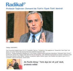 καθηγητής ιστορίας του πανεπιστήμιου Gazi της Άγκυρας, Cemalettin Taşkıran
