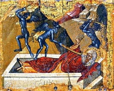 Οι δαίμονες πολεμούν το Μέγα Αντώνιο - (λεπτομέρεια φορητής εικόνας).
