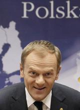 Poland's Prime Minister Tusk holds a news conference at the end of an European Union leaders summit in Brussels