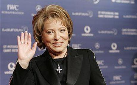 Valentina Matvienko...Valentina Matvienko, the governor of St. Petersburg, arrives for the Laureus Sports Awards in St. Petersburg, Russia, Monday, Feb. 18, 2008. (AP Photo/Dmitry Lovetsky)
